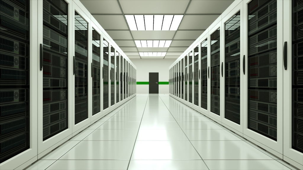 Modern server room interior in datacenter, web network and internet telecommunication technology, big data storage and cloud service concept, 3d rendering